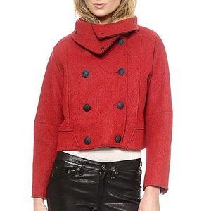 Rag & Bone Harper Red/Black Soft Felt Coat Size 0
